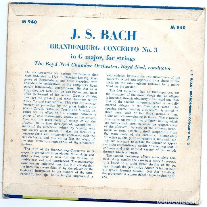 Discos de vinilo: J.S BACH - BRANDENBURG CONCERTO NR.3 - SINGLE - Foto 2 - 182114642