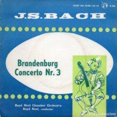 Discos de vinilo: J.S BACH - BRANDENBURG CONCERTO NR.3 - SINGLE. Lote 182114642