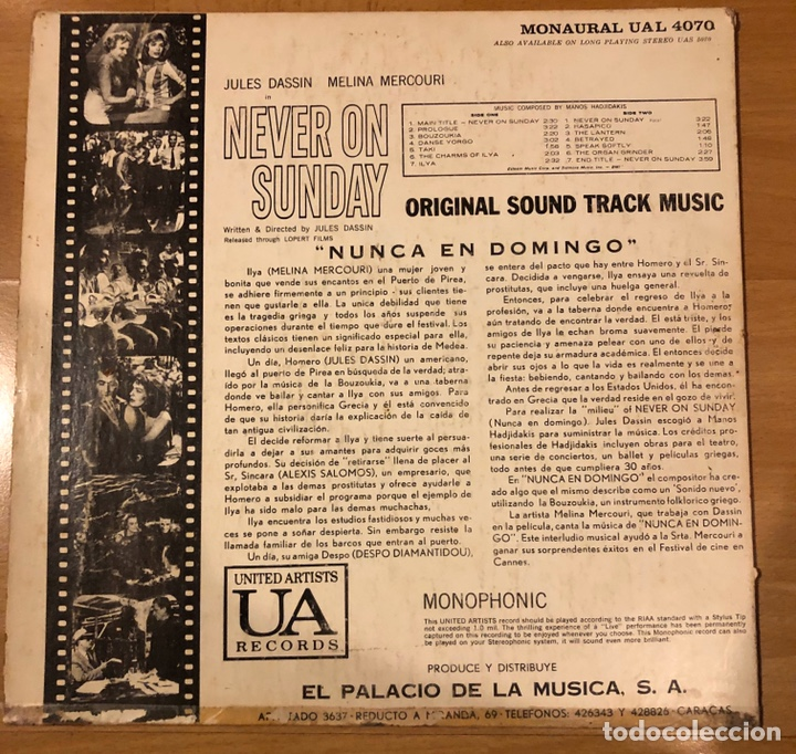 Discos de vinilo: Lp banda sonora nunca en domingo.never on sunday.melina mercouri.venezuela - Foto 2 - 182133157