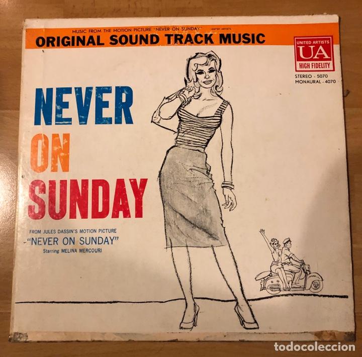 LP BANDA SONORA NUNCA EN DOMINGO.NEVER ON SUNDAY.MELINA MERCOURI.VENEZUELA (Música - Discos - LP Vinilo - Bandas Sonoras y Música de Actores )