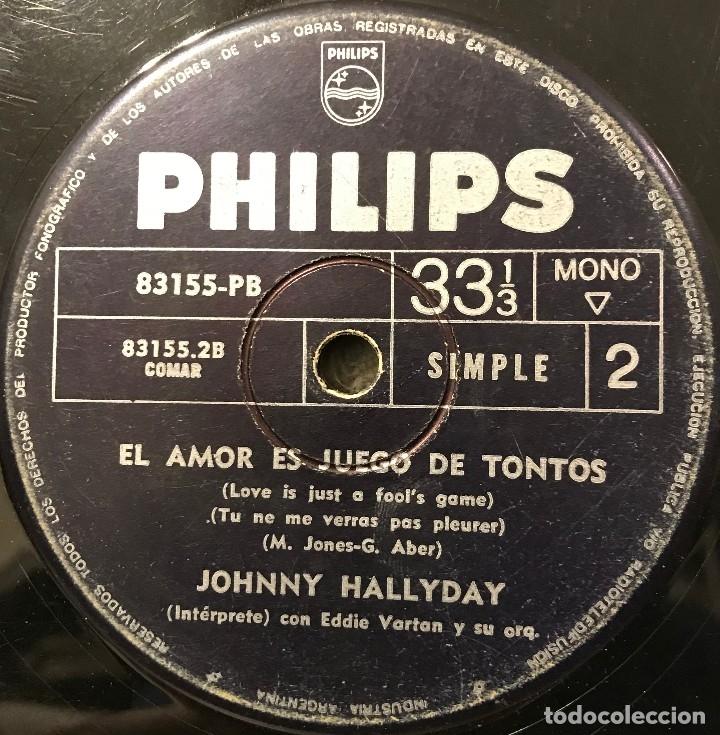 Discos de vinilo: Tres sencillos argentinos de Johnny Hallyday sello Philips - Foto 2 - 152830418