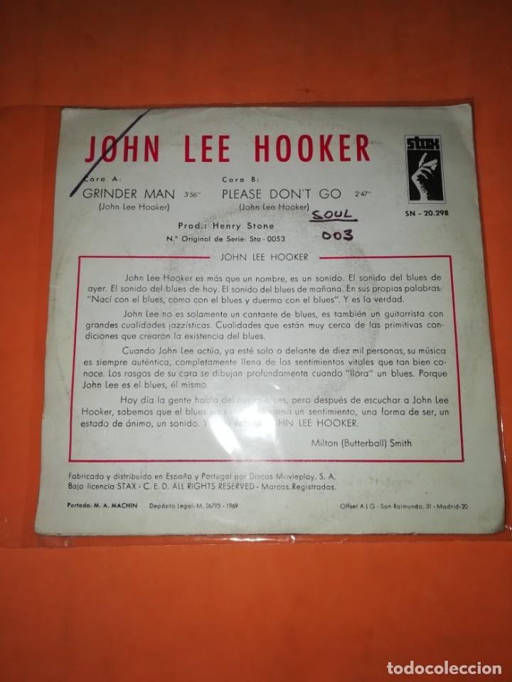 Discos de vinilo: JOHN LEE HOOKER. GRINDER MAN. PLEASE DONT GO. STAX 1969 - Foto 2 - 182258185