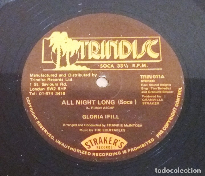 GLORIA IFILL / ALL NIGHT LONG / MAXI-SINGLE 12 INCH (Música - Discos de Vinilo - Maxi Singles - Reggae - Ska)