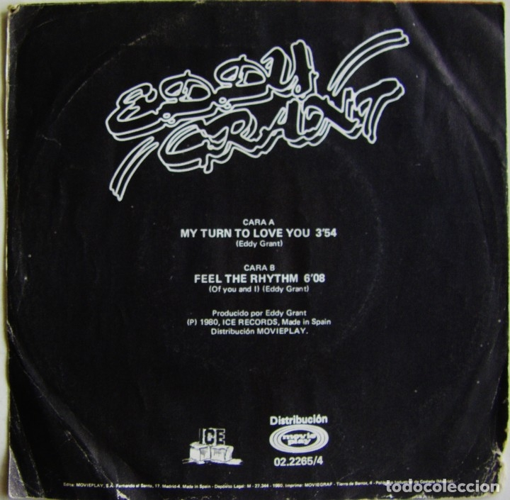 Discos de vinilo: Eddy Grant-My Turn To Love You , ICE, Movieplay 02.2265/4 - Foto 2 - 182286500