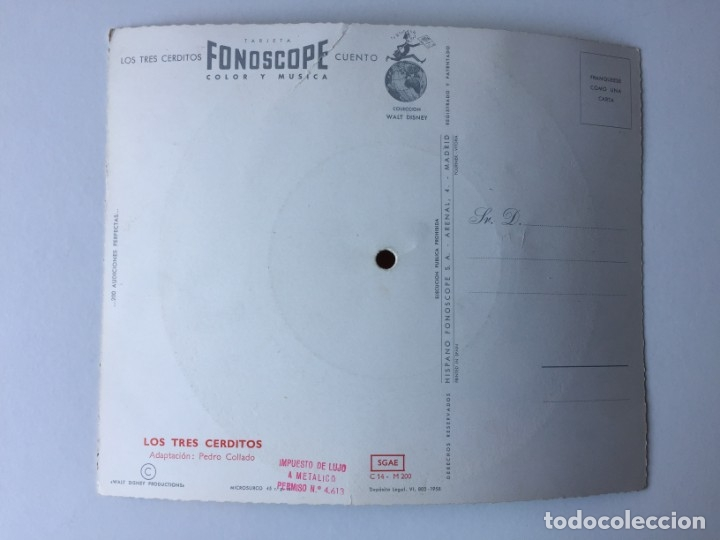 Discos de vinilo: TARJETA POSTAL SONORA FLEXIDISCO FONOSCOPE - COLECCIÓN WALT DISNEY - CUENTO LOS TRES CERDITOS - 1958 - Foto 2 - 182353946
