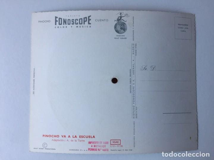 Discos de vinilo: TARJETA POSTAL SONORA FLEXIDISCO FONOSCOPE - COLECCIÓN WALT DISNEY - CUENTO PINOCHO - 1958 - Foto 2 - 182356306