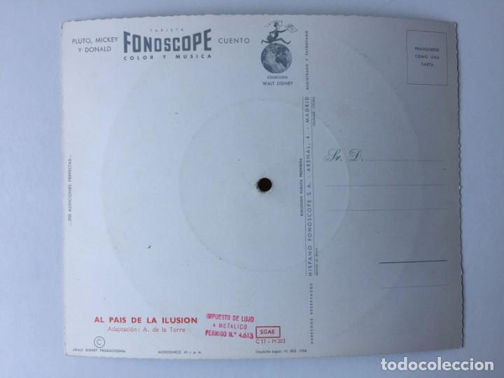 Discos de vinilo: TARJETA POSTAL SONORA FLEXIDISCO FONOSCOPE - COLECCIÓN WALT DISNEY - PLUTO, MICKEY Y DONALD - 1958 - Foto 2 - 182356446
