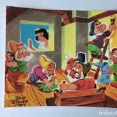 Discos de vinilo: TARJETA POSTAL SONORA FLEXIDISCO FONOSCOPE - COLECCIÓN WALT DISNEY - LOS SIETE ENANITOS - 1958. Lote 182356956