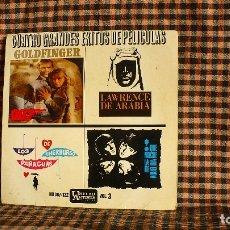 Discos de vinilo: CUATRO GRANDES EXITOS DE PELÍCULAS VOL. 3, UNITED ARTISTS RECORDS ?– HU 067-122, 1965. . Lote 182357063