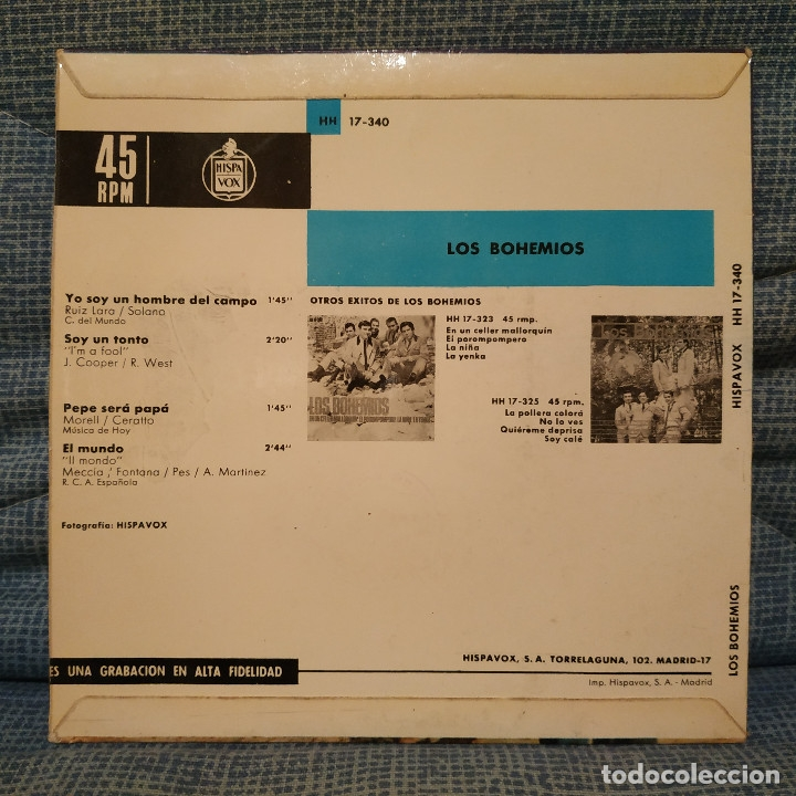 Discos de vinilo: LOS BOHEMIOS - SOY UN HOMBRE DEL CAMPO + 3 - EP Hispavox ?– HH 17-340 del año 1965 en buen estado - Foto 2 - 182429307