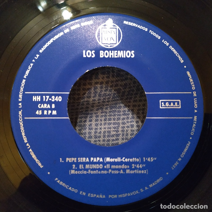 Discos de vinilo: LOS BOHEMIOS - SOY UN HOMBRE DEL CAMPO + 3 - EP Hispavox ?– HH 17-340 del año 1965 en buen estado - Foto 4 - 182429307