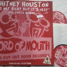 Discos de vinilo: WHITNEY HOUSTON IT'S NOT RIGHT BUT IT'S OKAY DOBLE VINILO MAXI. Lote 182492726