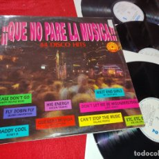 Discos de vinilo: QUE NO PARE LA MUSICA VOL.1 3LP 1992 ESPAÑA SPAIN RECOPILATORIO VILLAGE PEOPLE+ANITA WARD+ETC. Lote 182529476