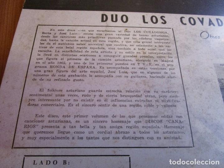 Discos de vinilo: DUO LOS COVADONGA BERTA Y JOSE LUIS CANCIONES DE ASTURIAS ( LP Venezuela ) Asturias y Cuba - - Foto 2 - 182559848