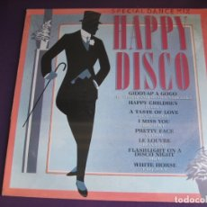 Discos de vinilo: HAPPY DISCO LP CBS 1983 RECOPILATORIO ITALODISCO 80'S - P. LION - AD VISSER - DEN HARROW ETC. Lote 182620518