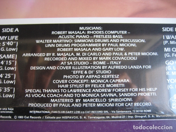 Discos de vinilo: Gary Low LP HISPAVOX 1983 PRECINTADO - Go On - ITALODISCO - ITALIA DISCO SYNTH 80'S - Foto 5 - 182621546