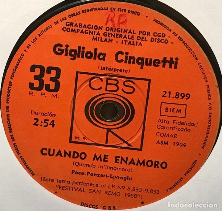 SENCILLO ARGENTINO DE GIGLIOLA CINQUETTI CANTADO EN ITALIANO AÑO 1968 (Música - Discos - Singles Vinilo - Canción Francesa e Italiana)