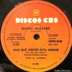 Discos de vinilo: SENCILLO ARGENTINO DE GIANNI NAZZARO AÑO 1973 REEDICIÓN. Lote 112568747