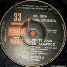 Discos de vinilo: SENCILLO ARGENTINO DE JANE BIRKIN AÑO 1969. Lote 115256083