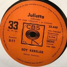 Discos de vinilo: SENCILLO ARGENTINO DE JULIETTA AÑO 1971. Lote 122146087