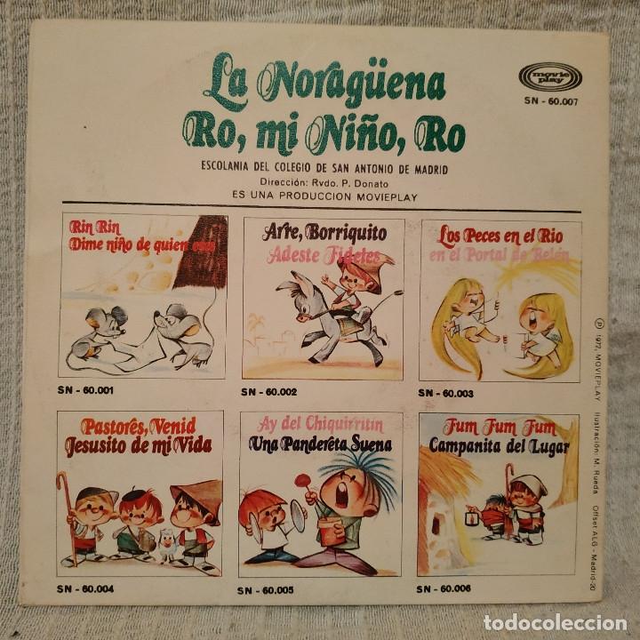 Discos de vinilo: LA NORAGUENA - RO MI NIÑO RO - ESCOLANIA San ANTONIO de MADRID single de color rojo portada gatefold - Foto 3 - 182636941