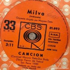 Discos de vinilo: SENCILLO ARGENTINO DE MILVA AÑO 1968. Lote 91024190