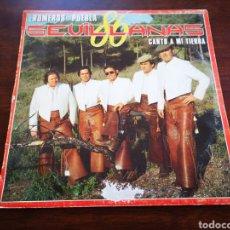 Discos de vinilo: LOS ROMEROS DE LA PUEBLA. CANTO A MI TIERRA. SEVILLANAS 86. Lote 182680080