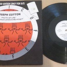 Discos de vinilo: JOSEPH COTTON / FACTS OF LIFE / MAXI-SINGLE 12 INCH. Lote 182714633