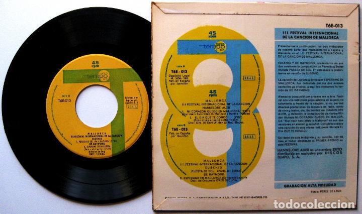 Discos de vinilo: Hannelore Auer /Eugenio /De Raymond - 3r Festival Internacional Canción Mallorca - EP Tempo 1966 BPY - Foto 2 - 182774901
