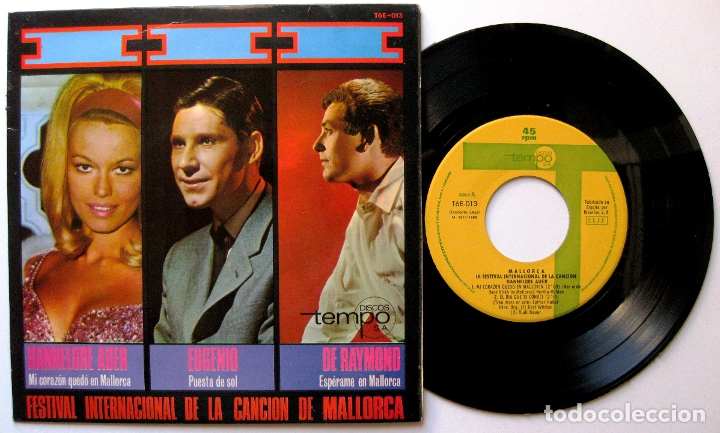 HANNELORE AUER /EUGENIO /DE RAYMOND - 3R FESTIVAL INTERNACIONAL CANCIÓN MALLORCA - EP TEMPO 1966 BPY (Música - Discos de Vinilo - EPs - Otros Festivales de la Canción)