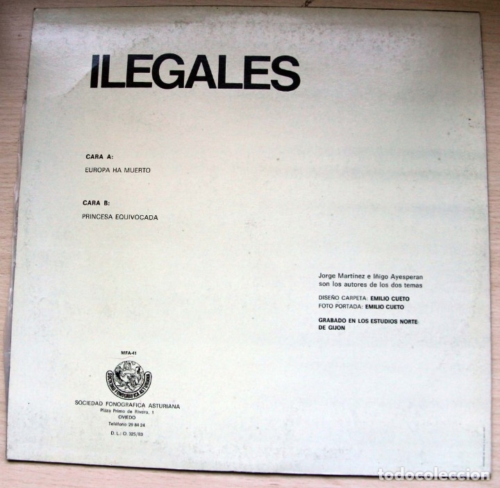 Discos de vinilo: Ilegales – Europa Ha Muerto - sociedad fonografica asturiana - 1983 - raro - Foto 2 - 182781435