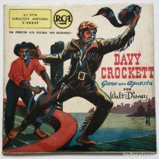 Discos de vinilo: DISCO COMIC DAVY CROCKETT GANA UNA APUESTA (RCA, 1958) VINILO AZUL - WALT DISNEY. Lote 182783705