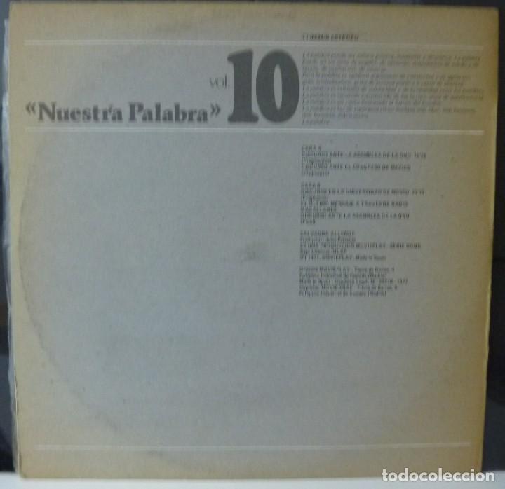Discos de vinilo: NUESTRA PALABRA / SALVADOR ALLENDE / VOL 10 /1977 / (VG VG). LP - Foto 2 - 182831285