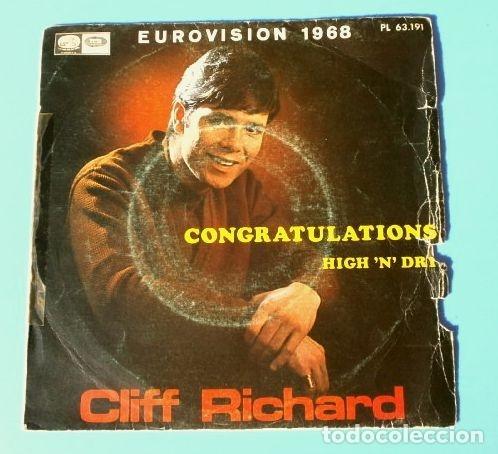 CLIFF RICHARD (SINGLE EUROVISION 1968) CONGRATULATIONS - REINO UNIDO 2º PUESTO (Música - Discos - Singles Vinilo - Festival de Eurovisión)