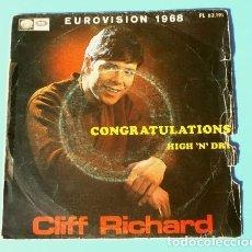 Discos de vinilo: CLIFF RICHARD (SINGLE EUROVISION 1968) CONGRATULATIONS - REINO UNIDO 2º PUESTO. Lote 182834002