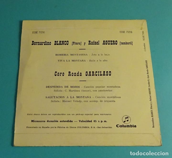 Discos de vinilo: BERNARDINO BLANCO - PITERO. RAFAEL AGUERO - TAMBORIL. CORO RONDA GARCILASO. COLUMBIA 1959 - Foto 2 - 182835703