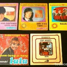Discos de vinilo: EUROVISION 69 (LOTE 5 SINGLES 1969) INGLATERRA,ESPAÑA,MONACO,YUGOSLAVIA - BELGICA, LULU, SALOME. Lote 182869281