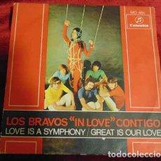 Discos de vinilo: LOS BRAVOS – ''IN LOVE'' CONTIGO - SINGLE 1968. Lote 182869752