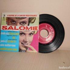 Discos de vinilo: V FESTIVAL DE LA CANCION DEL MEDITERRANEA-SALOME -DONDE ESTA -EP DE 4 CANCIONES -ZAFIRO-MADRID- 196 . Lote 182875578