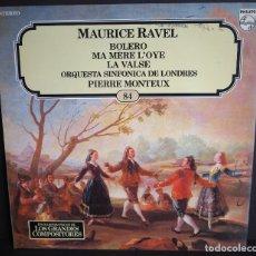 Discos de vinilo: MAURICE RAVEL. BOLERO. . LOS GRANDES COMPOSITORES DE SALVAT. 1982. Lote 182878800