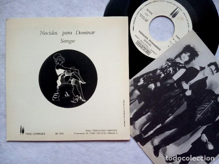 Discos de vinilo: PARALISIS PERMANENTE nacidos para dominar / sangre - SINGLE PROMOCIONAL CON INSERTO 1983 - 3CIPRESES - Foto 2 - 182887767
