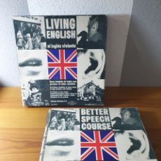 Discos de vinilo: LIVING ENGLISH + BETTER SPEECH COURSE, EN OCHO VINILOS Y CUATRO LIBROS. Lote 182888745