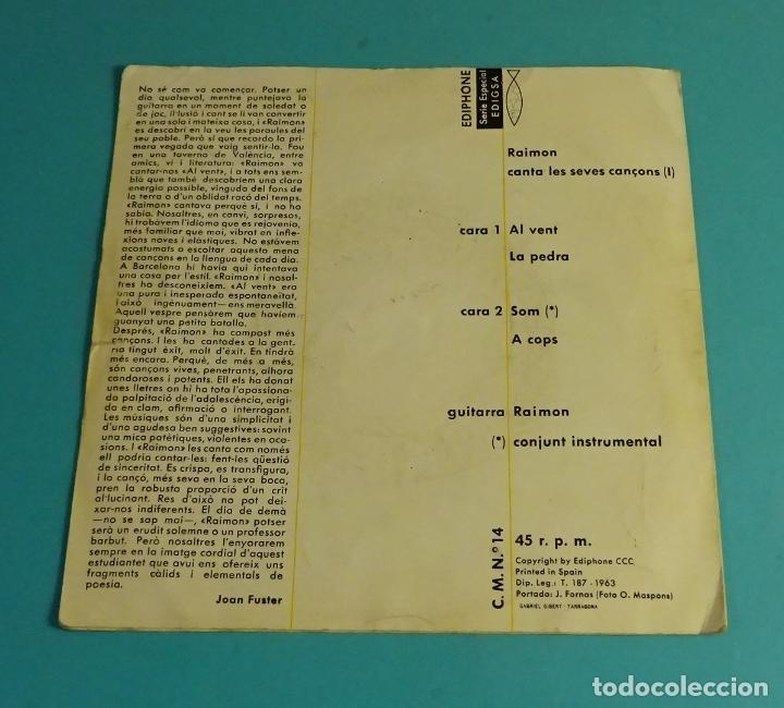 Discos de vinilo: RAIMON. AL VENT. LA PEDRA. SOM. A COPS. EDIPHONE 1963. SOLO CARÁTULA SIN VINILO - Foto 3 - 182902667
