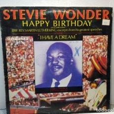 Discos de vinilo: SUPER SINGLE -STEVIE WONDER- HAPPY BIRTHDAY FUNDA ORIGINAL 1984. Lote 182909221