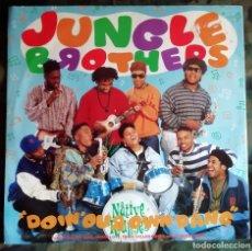 Discos de vinilo: JUNGLE BROTHERS FEAT DE LA SOUL,MONIE LOVE,TRIBE CALLED QUEST QUEEN LATIFAH – DOIN' OUR OWN DANG. Lote 199402971