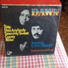 Discos de vinilo: DAWN - SAY, HAS ANYBODY SEEN MY SWEET GYPSY ROSE. SINGLE EDICION ALEMANA 1973. Lote 182954358