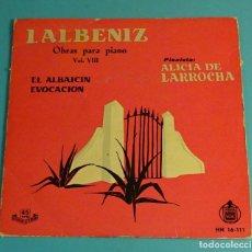 Discos de vinilo: ALICIA DE LARROCHA. I. ALBENIZ OBRAS PARA PIANO VOL. VIII. EL ALBAICÍN. EVOCACIÓN. HISPAVOX 1959. Lote 182955805