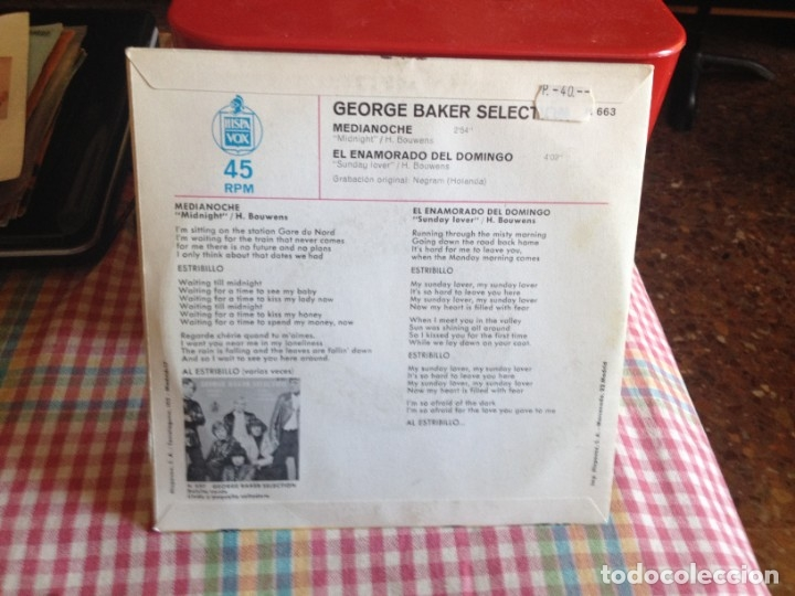 Discos de vinilo: GEORGE BAKER SELECTION - MEDIANOCHE. SINGLE MADE IN PAIN 1970 - Foto 2 - 182956031