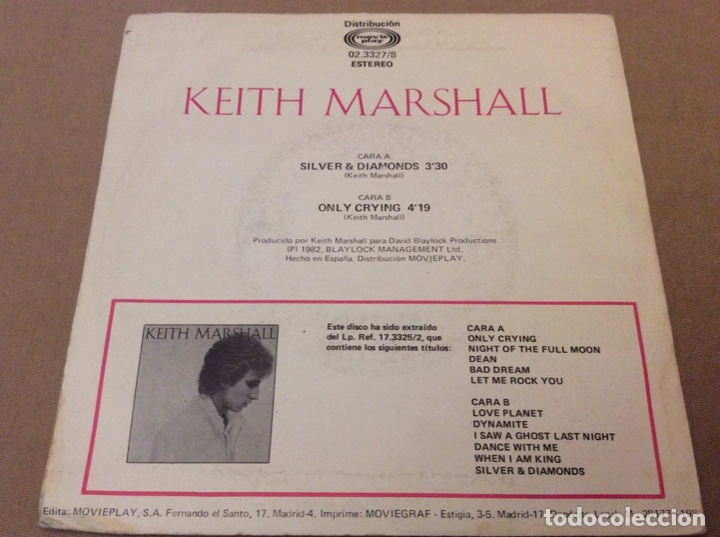 Discos de vinilo: keith marshall. silver diamonds. only crying. movieplay 1982. Promocional. - Foto 2 - 182956390