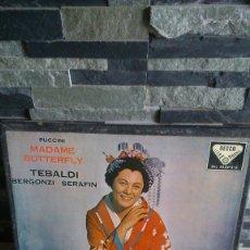 Discos de vinilo: PUCCINI, MADAME BUTTERFLY, TEBALDI BERGONZI-SERAFIN AÑO 1959, 3 DISCOS. Lote 182962077